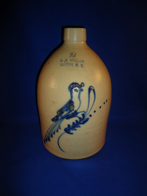 O'Grady, Nashua, New Hampshire Stoneware Jug with Bird #5155