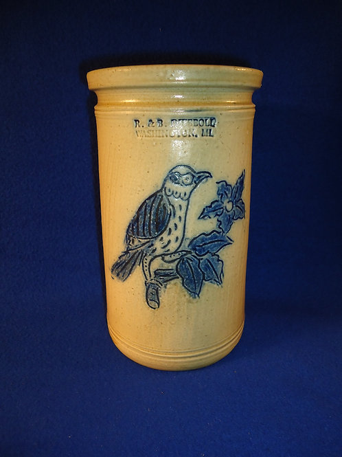R. & B. Diebboll, Washington, Michigan Stoneware Vase with Incised Bird