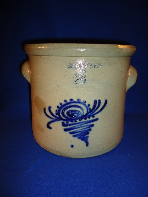Geddes, New York Stoneware 2 Gallon Crock with Floral
