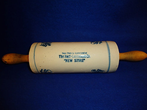 Blue and White Stoneware Rolling Pin for lRuff-Gussman, Quakertown, Pennsylvania