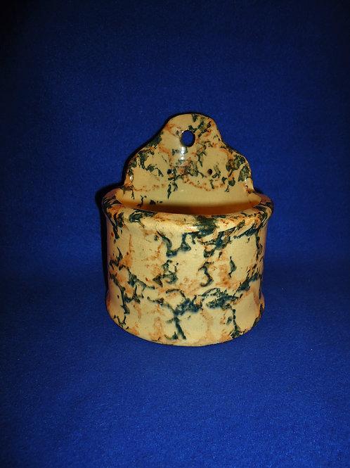 Yellow Ware Spongeware Hanging Salt Crock #4579