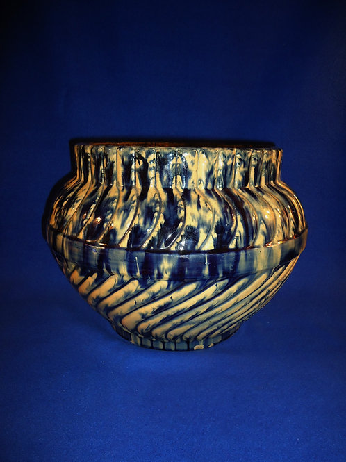Large Yellow Ware Swirl Jardiniere by Robinson Clay Products of Ohio