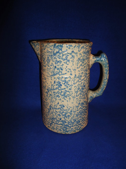 Red Wing Blue and White Spongeware Stoneware Pitcher #5526