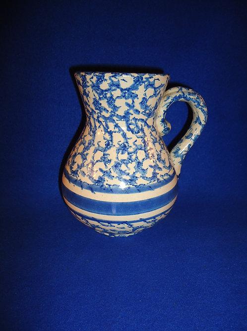 Blue and White Spongeware Stoneware Hot Water Pitcher #4515