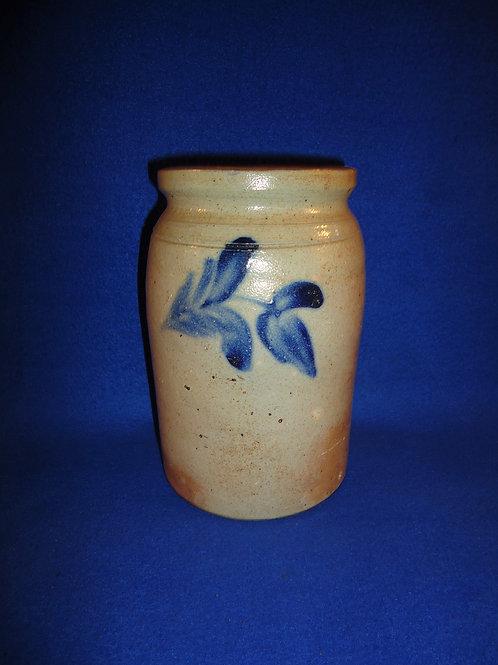 "Circa 1860 7 3/8"" Stoneware Jar with 3 Tulips, att. Remmey of Philadelphia #5791"