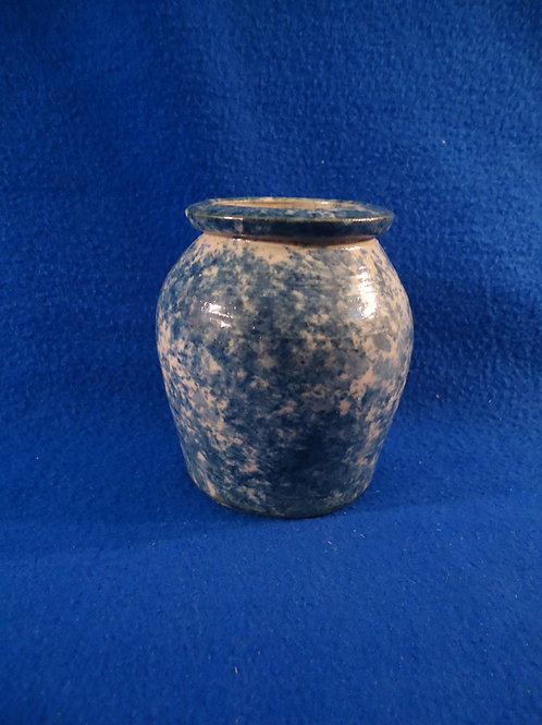 "Blue and White Spongeware Stoneware 4 1/4"" Jar by Weeks of Akron, Ohio"