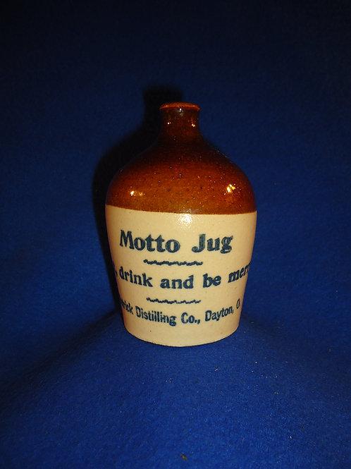 "Detrick Distilling, Dayton, Ohio Stoneware Mini Motto Jug, ""Eat, drink""  #5753"