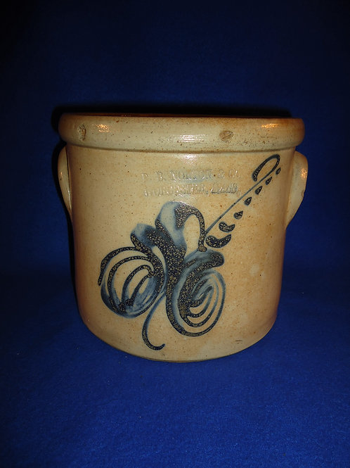 F. B. Norton, Worcester, MA 1 Gallon Stoneware Crock with Swirl Floral #5619