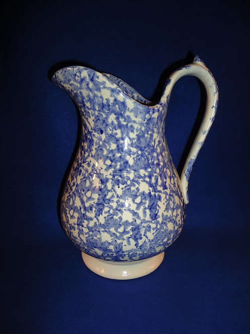 Blue and White Spongeware Stoneware Staffordshire Water Pitcher #4463