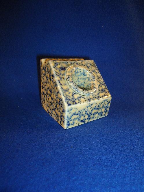 Blue and White Spongeware Stoneware Inkwell with Insert