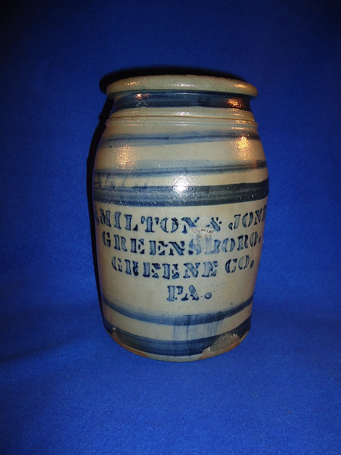 Hamilton and Jones,  Greensboro, Pennsylvania 1 Gallon Jar the Wow Factor