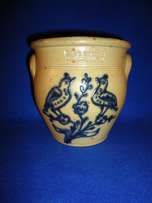 R. & B. Diebboll, Washington, Michigan Stoneware 1/2g Jar with Double Birds