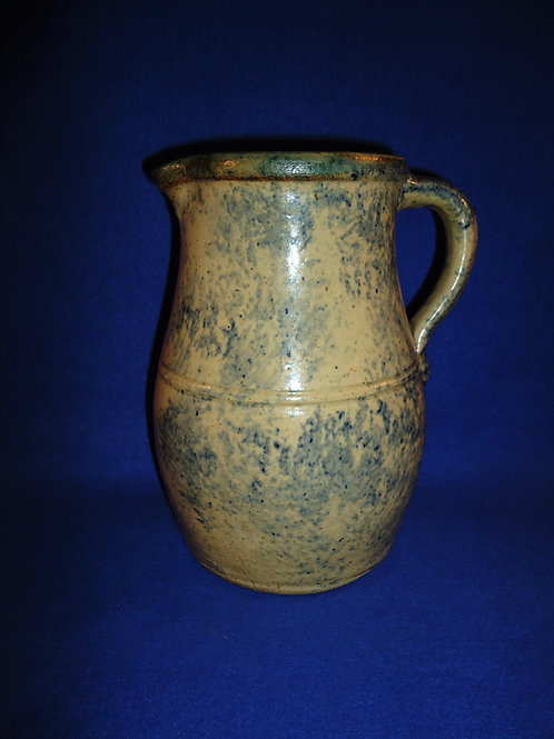 Circa 1860 Country Stoneware Spongeware Pitcher from Ohio