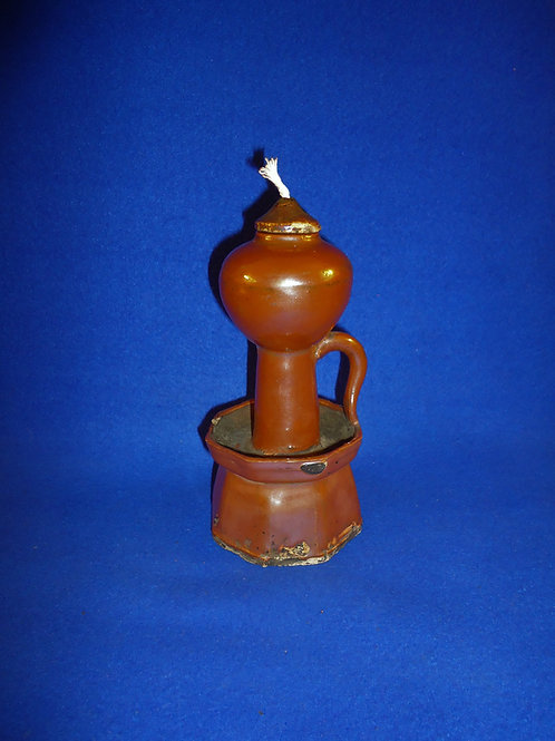 19th Century Redware Grease Lamp with Original Top #5179