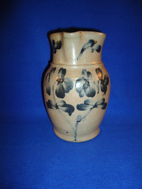 Circa 1870 1/2 Gallon Stoneware Pitcher, Baltimore, Maryland with Clovers