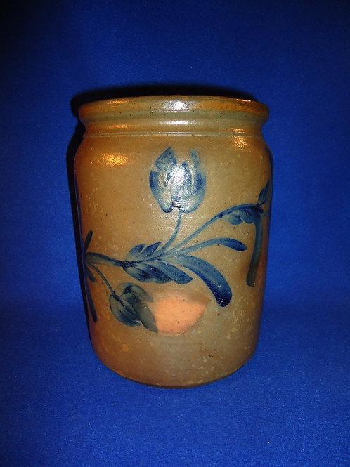 Gorgeous 1 Gallon Stoneware Jar with 3 Tulips, att. SW Pennsylvania
