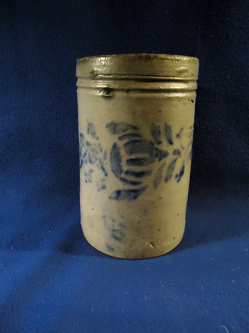 """Circa 1880 6"""" Stoneware Wax Sealer with Floral Stencil from SW Pennsylvania"""