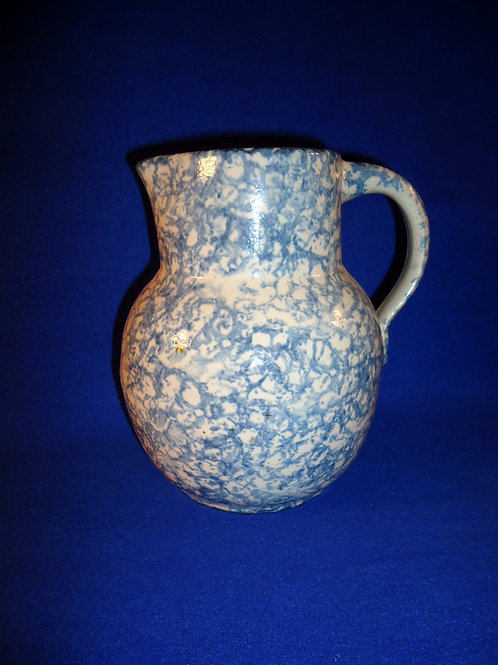 Blue and White Spongeware Pitcher by Uhl of Huntingburg, Indiana