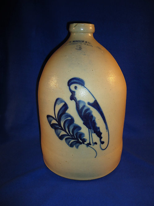F. B. Norton, Worcester, MA 3 Gallon Stoneware Jug with Parrot on a Plume #5438