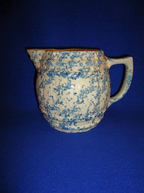 Circa 1900 Blue and White Spongeware Barrel-Shaped Pitcher #4566