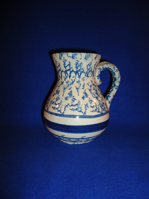 Blue and White Spongeware Stoneware Hot Water Pitcher #4560
