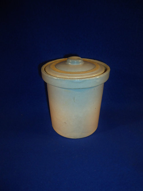 "Unusual 4 1/2"" Blue and White Stoneware Lidded Jar"