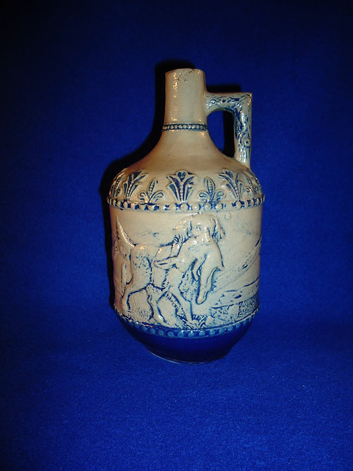 Rabbit Hunt Stoneware Jug by Whites Pottery of Utica, New York