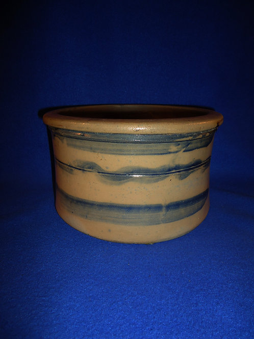 Circa 1870 Stoneware Butter Crock with 3 Stripes from SW Pennsylvania