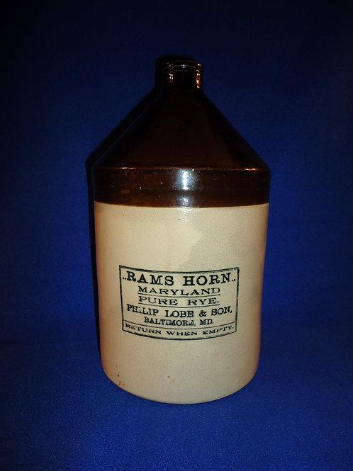 Rams Horn Rye Whiskey, Baltimore, Maryland Stoneware 1 Gallon Jug
