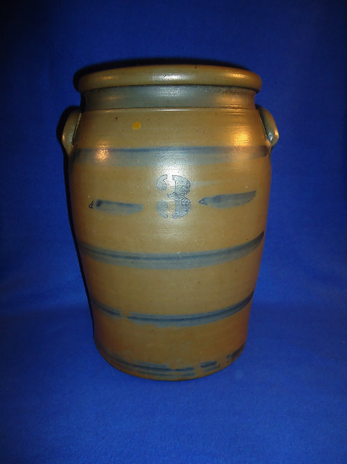"3 Gallon Stoneware ""Striper"" Jar, att. Palatine, West Virginia #5708"