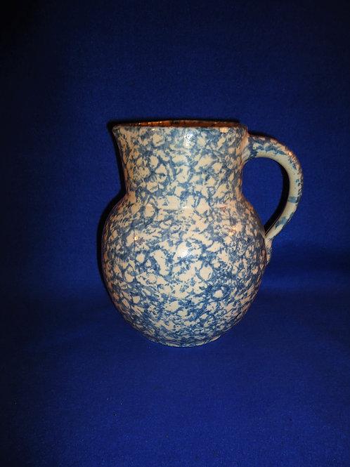 Blue and White Spongeware Stoneware Pitcher, Uhl, Huntingburg, IN, #5743
