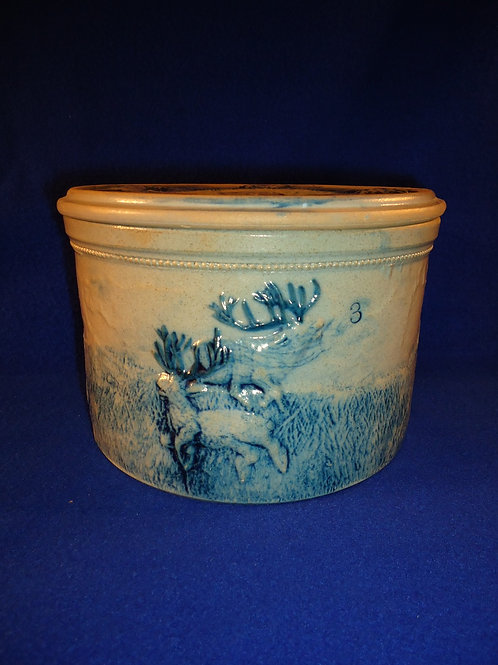 Whites of Utica Stoneware 3 Pound Butter Crock, Stag Hunt Pattern