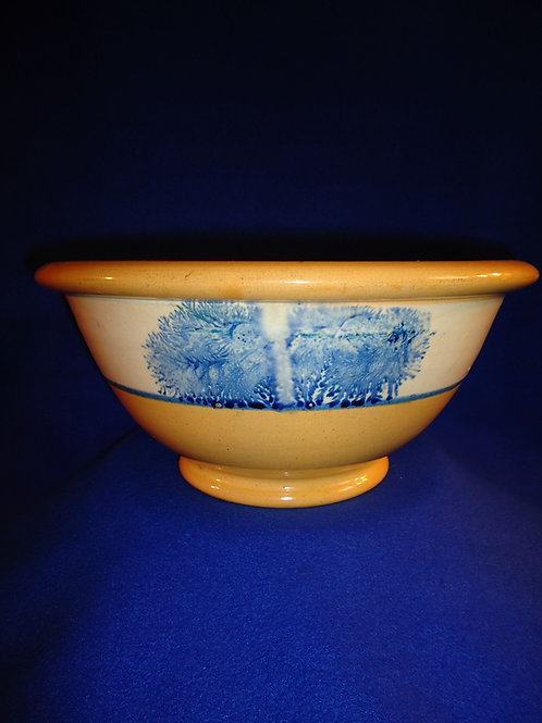 "12"" Yellow Ware Bowl with Blue Mocha Seaweed Decoration"