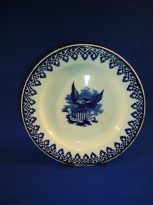 R. Hammersley Blue and White Cut Sponge and Eagle Transfer Plate