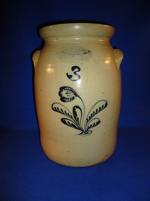 Burger & Lang, Rochester, New York Stoneware 2 Gallon Preserve Jar with Tulip