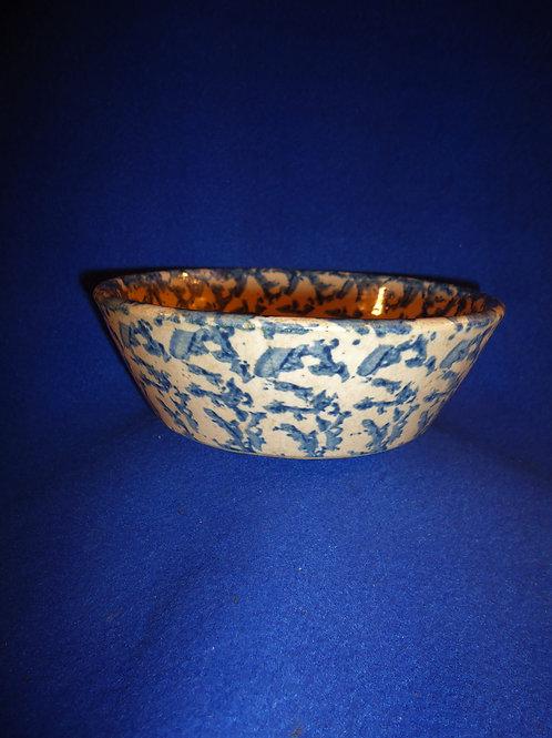 Blue and White Spongeware Stoneware Nappy, Dark Cobalt #4687