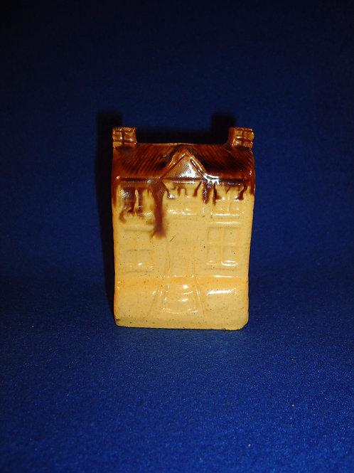 Yellow Ware House Bank with Rockingham Drip Glaze