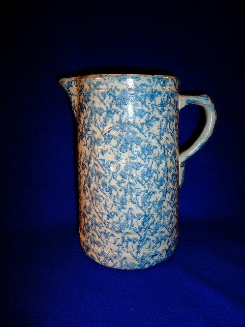 Blue and White Spongeware Stoneware Girl and Dog Pitcher