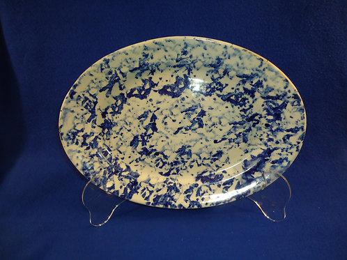 Blue and White Spongeware Stoneware Platter, Robacker Provenance
