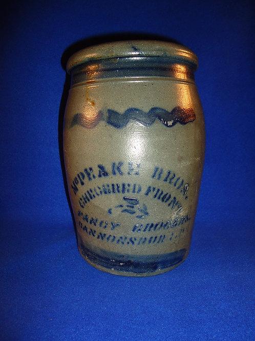 McPeake, Grocer, Cannonsburg, Pennsylvania Stoneware 1 Gallon Merchant Jar