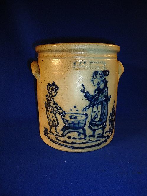 R. & B. Diebboll, Washington, Michigan Stoneware 1/2 Gallon Crock with Wash Tub