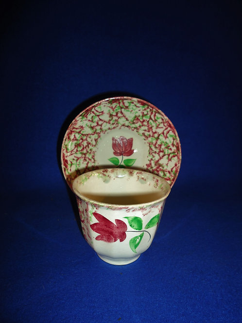 19th Century Spongeware Handleless Cup & Saucer, Dainty Tulip #5178