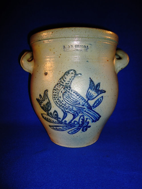 R. & B. Diebboll, Washington, Michigan Stoneware 2g Ovoid Jar with Dotted Bird