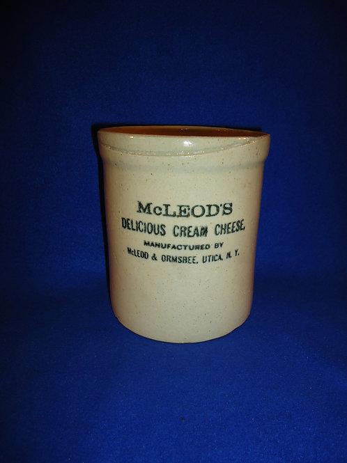 McLeod's Cream Cheese, Utica, N.Y. Stoneware Jar #5055