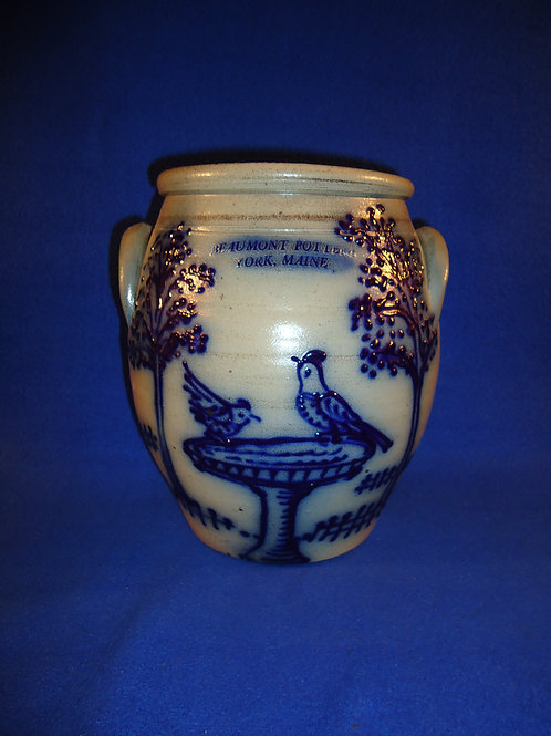 Beaumont Pottery, York, Maine Stoneware Jar with Birds in Birdbath #5053