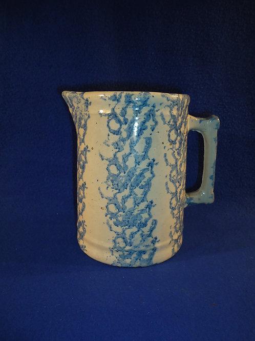 Rare Blue and White Spongeware Stoneware Hallboy Pitcher, Vertical Sponging