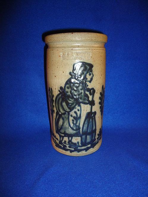 R. & B. Diebboll, Washington, Michigan Stoneware Jar with Woman Churning Butter