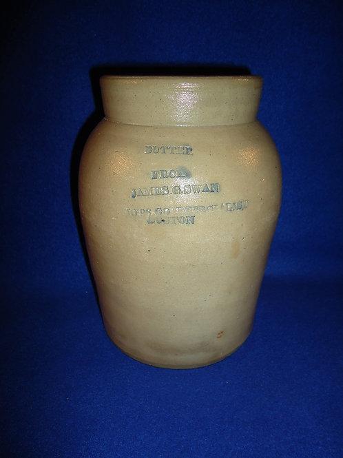 Rare Stoneware Butter JAR from Swan of Boston, Massachusetts