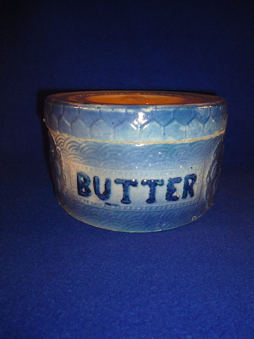 Blue and White Stoneware Apricot with Honeycomb Butter Crock