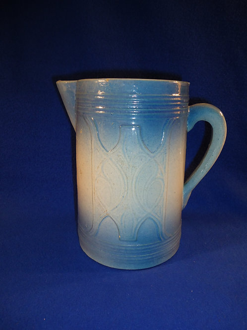 Blue and White Stoneware Pitcher in the Shield Pattern